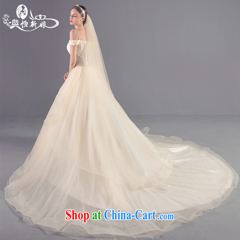 Code Hang Seng bridal new 2015 Korean version of the greater tail fluoroscopy erase chest wedding band a field shoulder larger wedding female high-end custom, marriage private dress champagne color XL