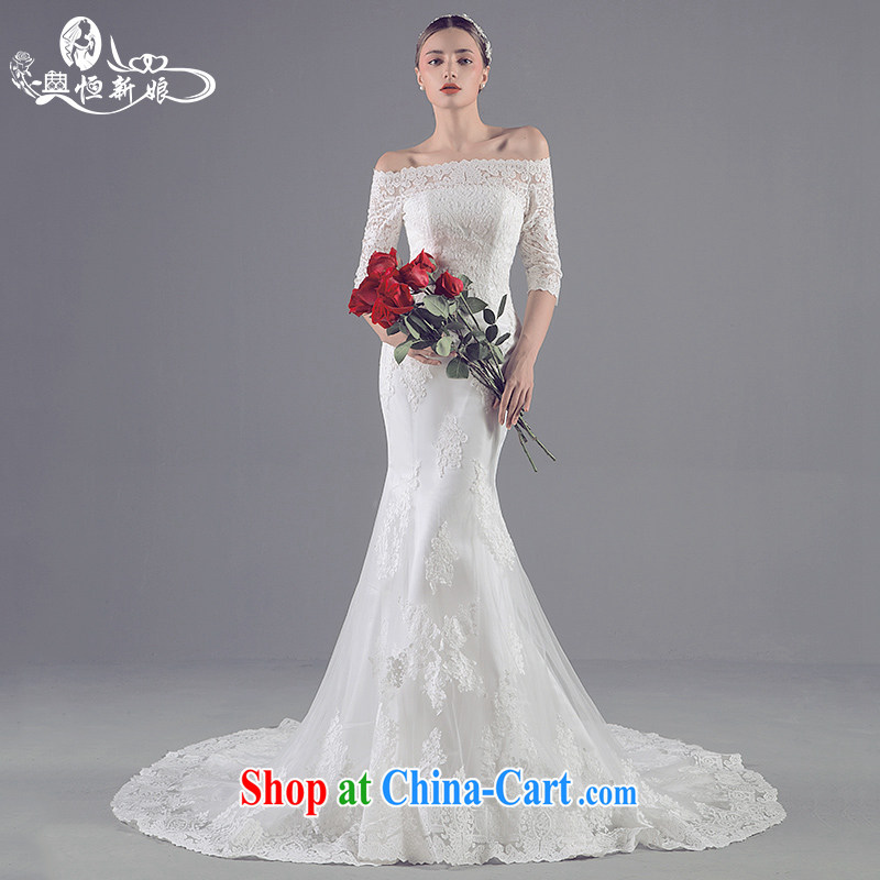 Code Hang Seng bride high-end custom 2015 new Korean crowsfoot wedding lace cuff in small-tail field shoulder wedding upscale custom crowsfoot wedding white XL