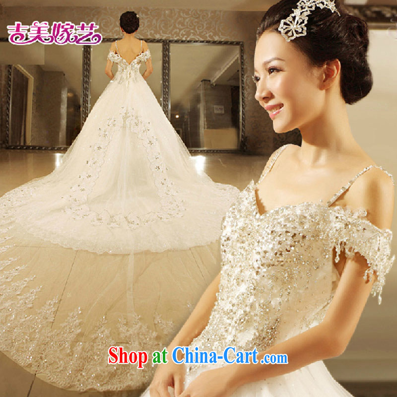 wedding dresses Jimmy married arts 2015 New Field double-shoulder Princess skirt water drill tail HT 7106 bridal wedding white XL