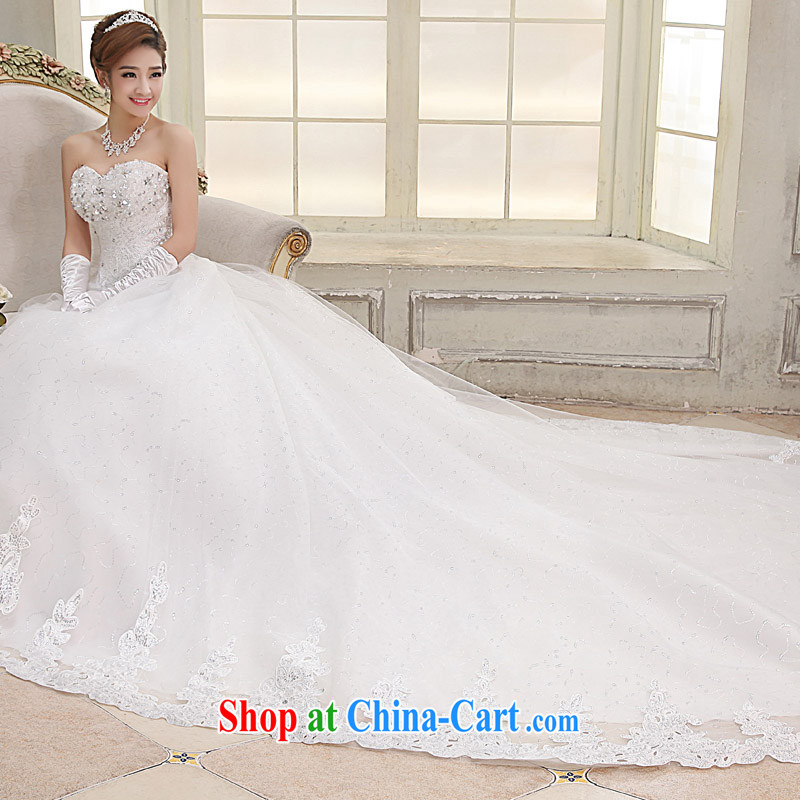 High quality wedding dresses new 2015 spring bridal graphics thin beauty chest Mary Magdalene the tail inserts drill the Pearl strap wedding package mail B, drag and drop waist, approximately 2 M XL
