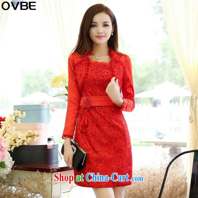 OVBE Korean version 2015 spring loaded new beauty video thin dress skirt Set Style fashion the waist Evening Dress wedding two-piece female Red XL