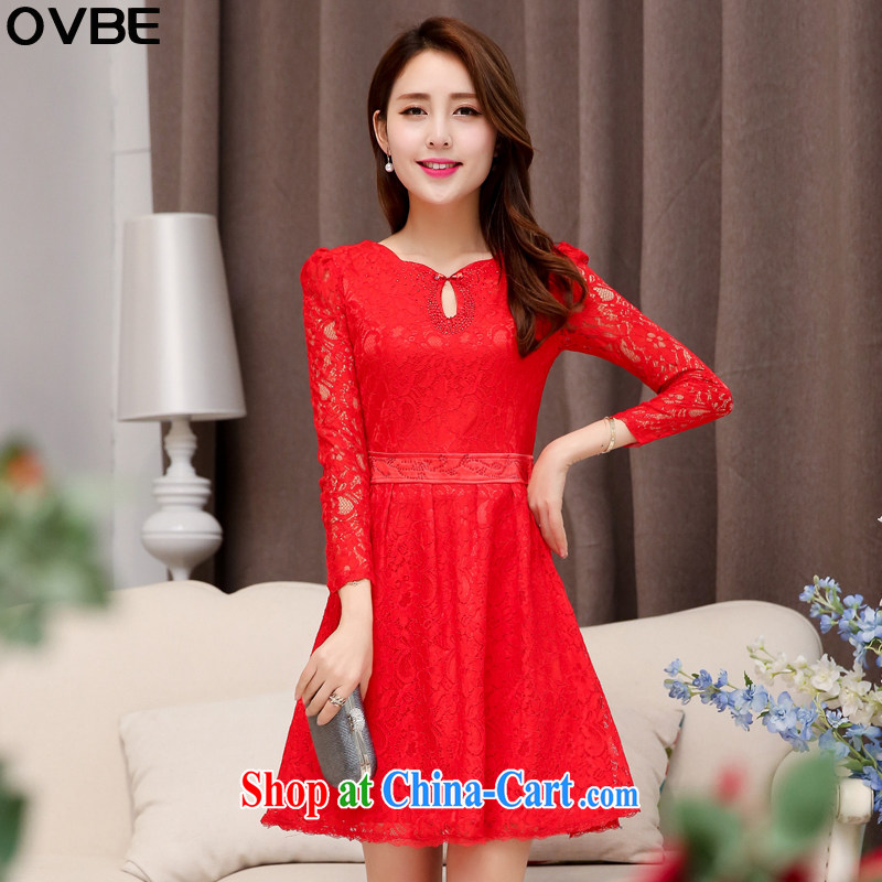 OVBE Korean version 2015 spring loaded new beauty video thin solid-colored long-sleeved wedding dresses style, for the waist lace dress female Red XXL