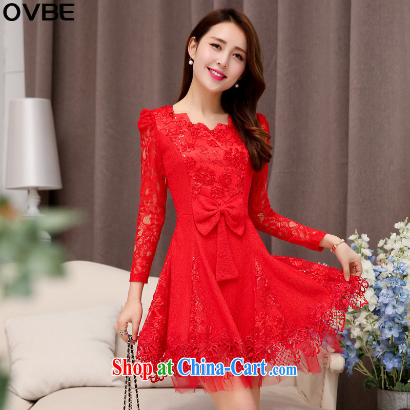 OVBE Korean version 2015 spring loaded new beauty video thin elegant evening dress wedding style ripple for long-sleeved lace dresses female Red XL