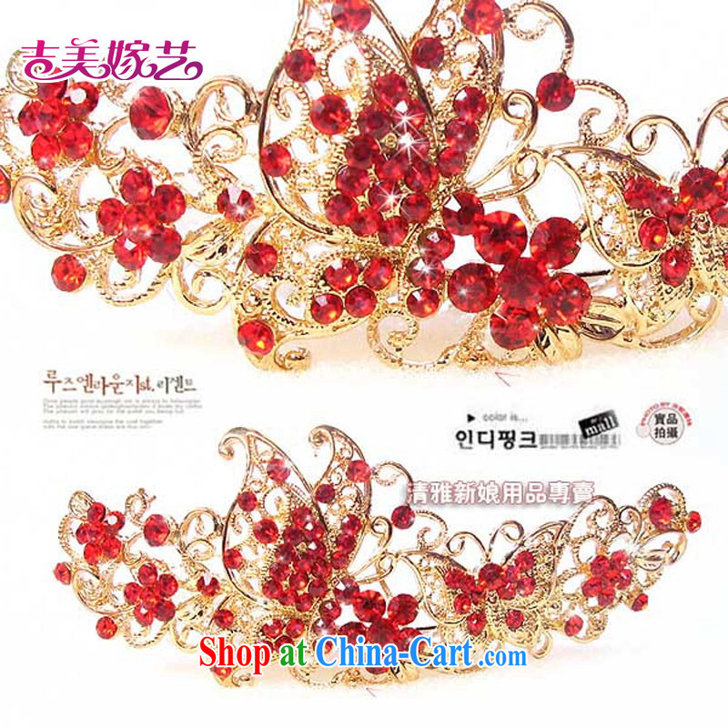 Bridal jewelry_head-dress_Special_red water drilling romantic butterfly luxury and ornaments HG 3037 bridal Crown Red Red