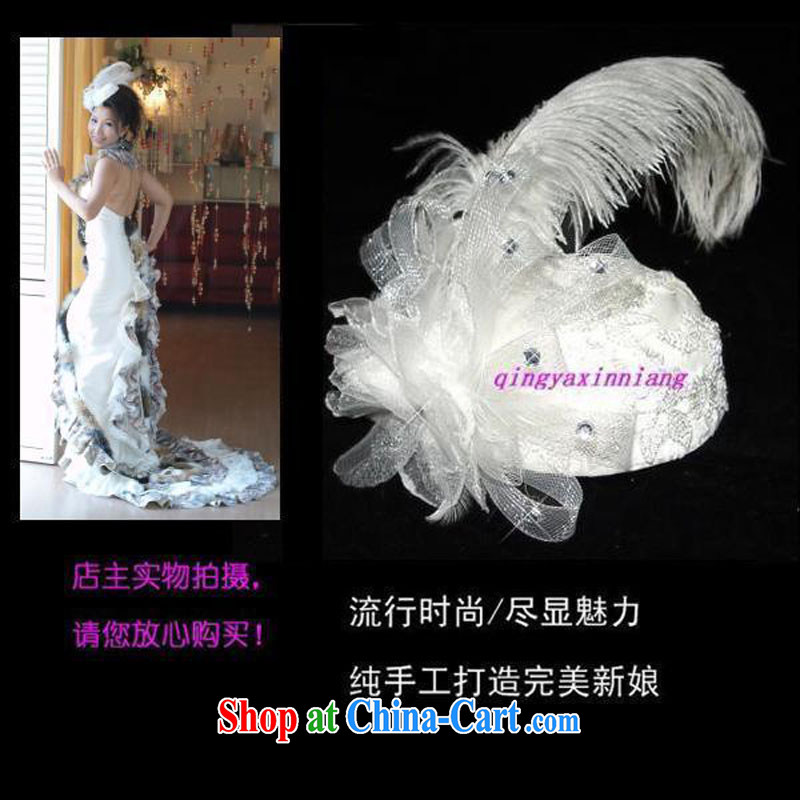 The Crown -- live/brides with wedding dresses and flower head-dress/ostrich hair hat * TH 036 white head-dress