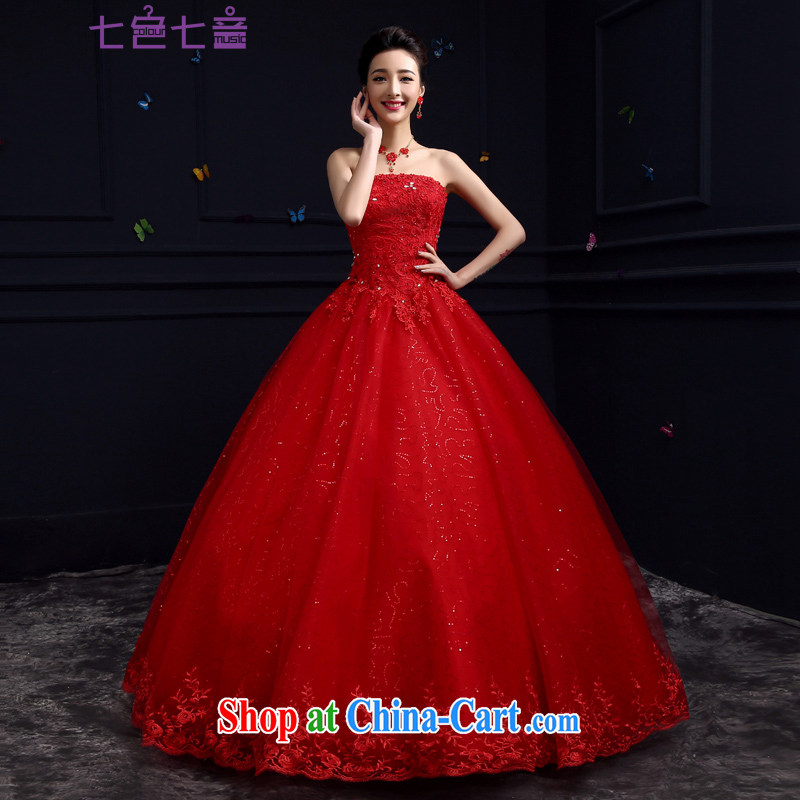 7 color 7 tone Korean version summer 2015 New Red marriages with cultivating graphics thin lace the code binding with shaggy dress wedding H 079 red tailored (final)