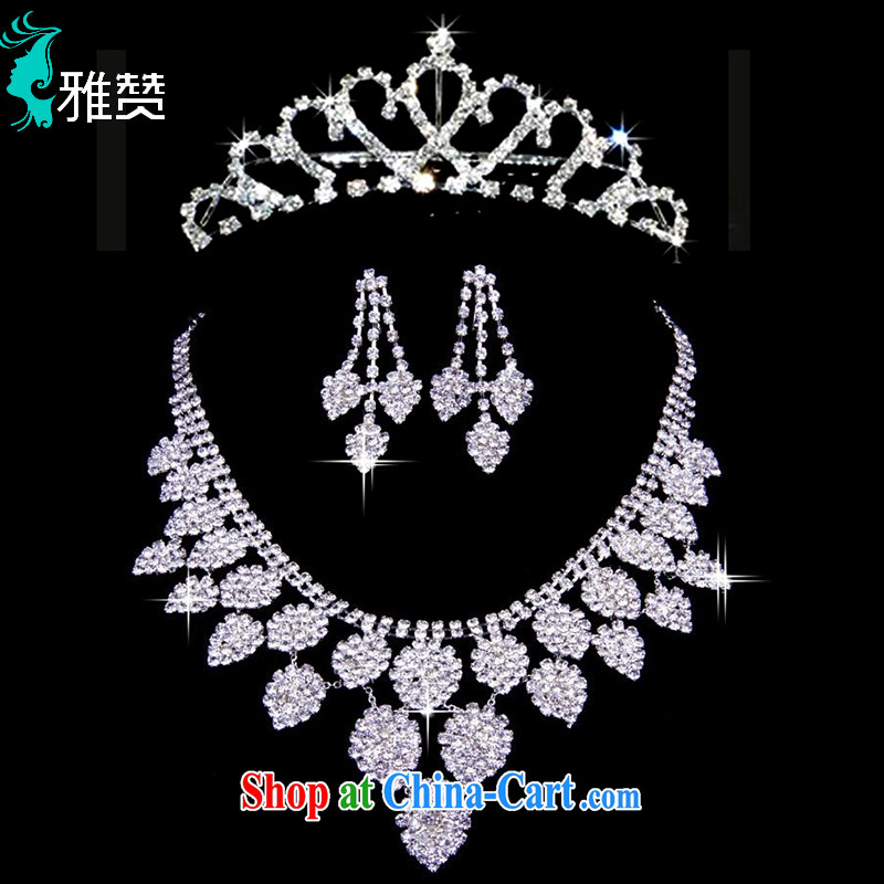 And Jacob his 2015 bridal head-dress 3 piece water drilling wedding ceremony dress and adornment water droplets leaves Crown necklace earrings silver