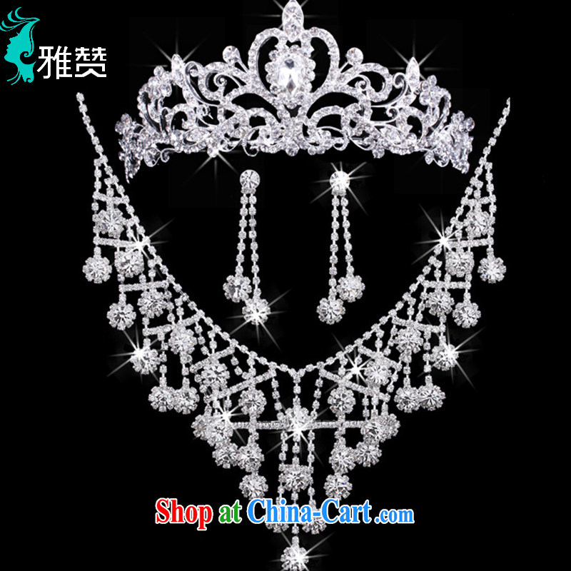And Jacob his Korean bridal jewelry Crown earrings necklace 3-piece water drilling marriage yarn jewelry shadow floor head dresses accessories accessories silver, Zambia (YAZAN), shopping on the Internet