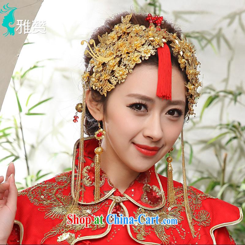 And Jacob his bride's Headdress classic the Kanzashi further, Bong-Koon-su Wo service Phoenix cheongsam use retro nuptials visited Phoenix gold and gold ornaments
