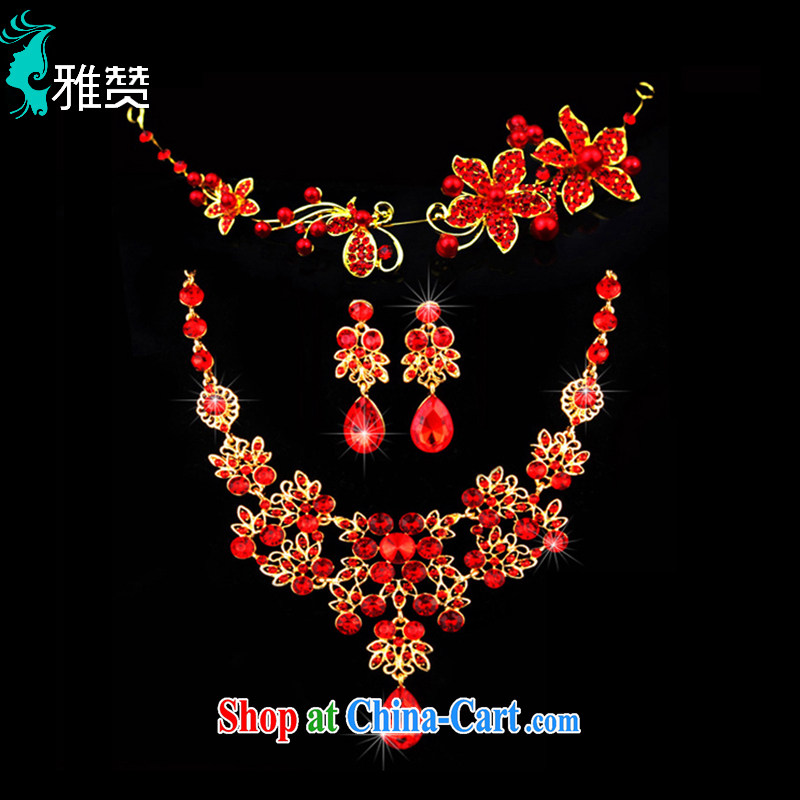 And Jacob his bride's head-dress Crown jewelry 3-Piece red Korean marriage wedding dresses dresses accessories hair accessories necklaces earrings red