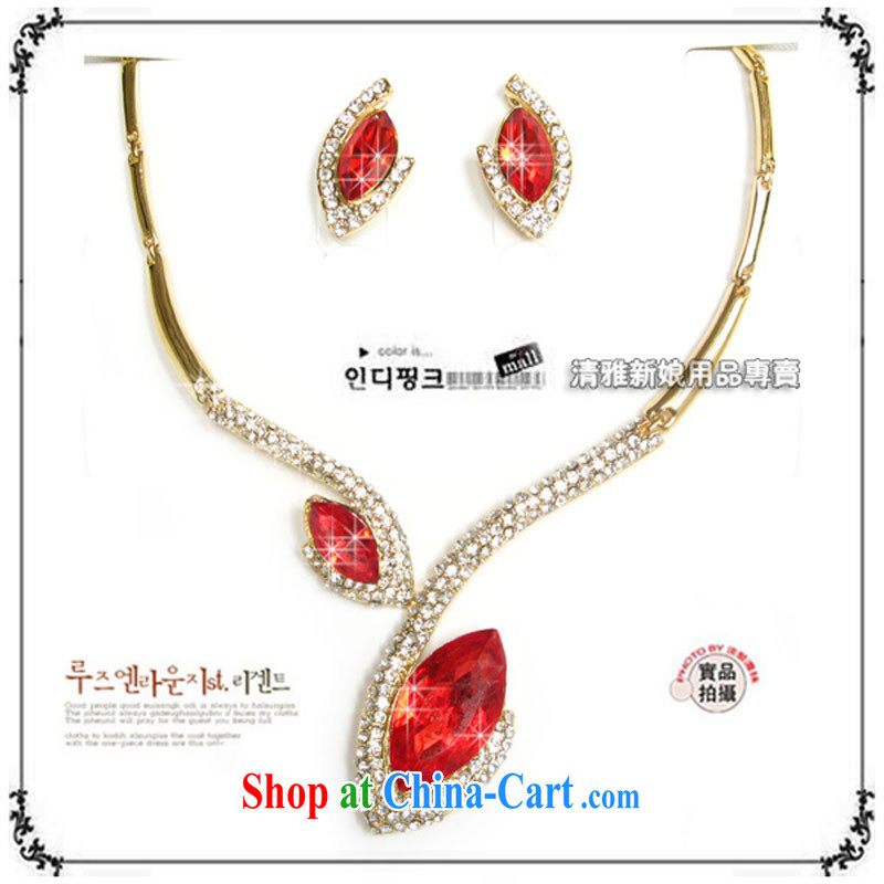 Bridal jewelry/kit chain/necklace/parquet red water drill set link TL 0210 bridal suite link red ear pin