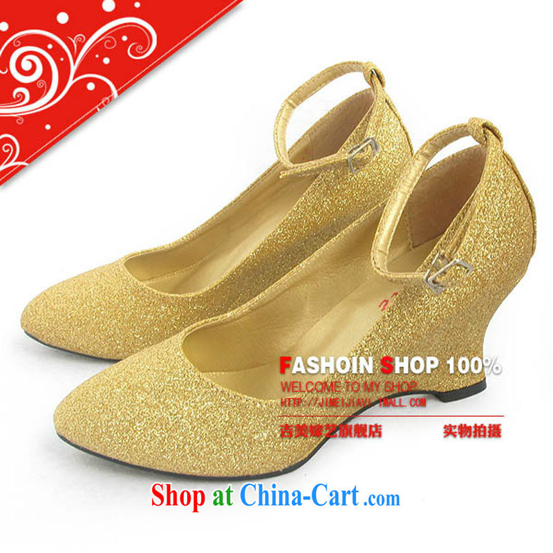 Bridal accessories bridal wedding shoes/gold bridal shoes/Ultra flash slope with gold bridal shoes 5031 bridal shoes red 35