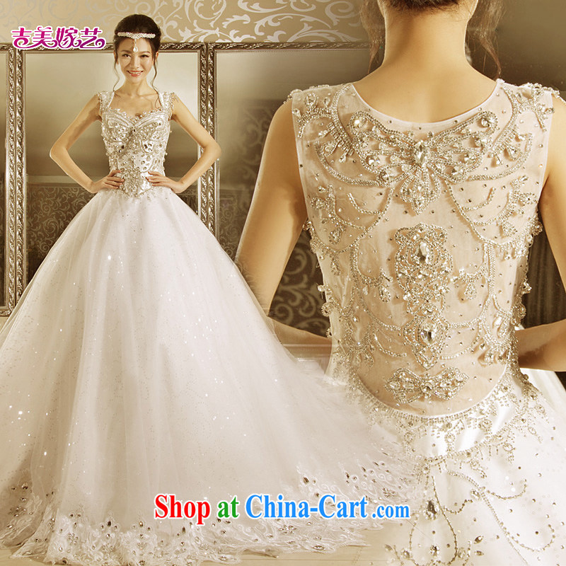 wedding dresses Jimmy married arts 2015 new Korean shoulders Princess shaggy dress tail HT 7155 bridal wedding 1M tail L