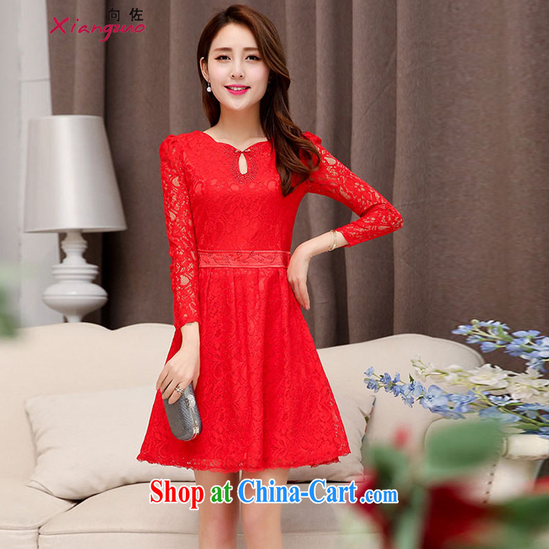To Spring and Autumn 2015 new stylish beauty graphics thin fine lace dress lace flowers dress wedding red XXL