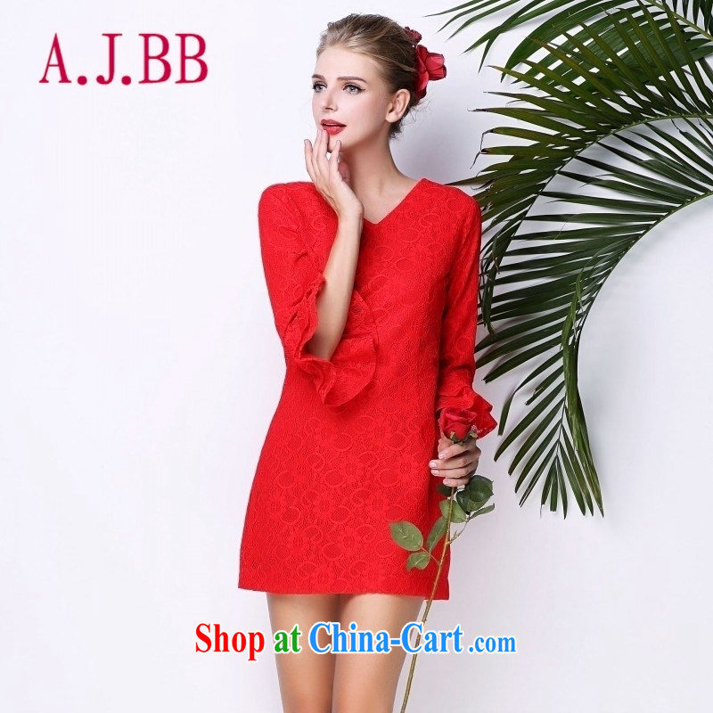 With vPro heartrendingly dress horn cuff V collar red marriage toast clothing style fashion both positive and negative through 3093 red XL