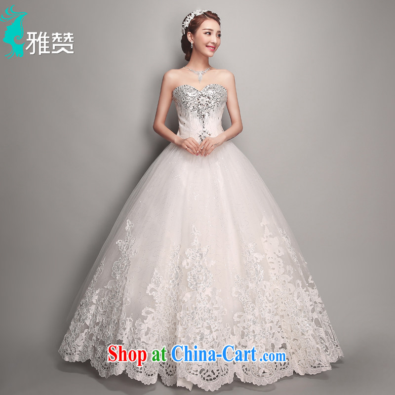 And Jacob his bride Korean-style wedding dresses bare chest water drilling 2015 summer New Beauty video thin straps Princess with shaggy dress white XXL