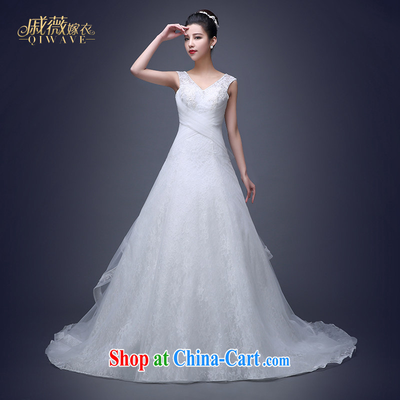 Qi wei summer 2015 new Korean-style wedding dresses wedding dress uniform toast white shoulders V for small-tail bound beauty with larger graphics thin wedding female white XXL only for perfect