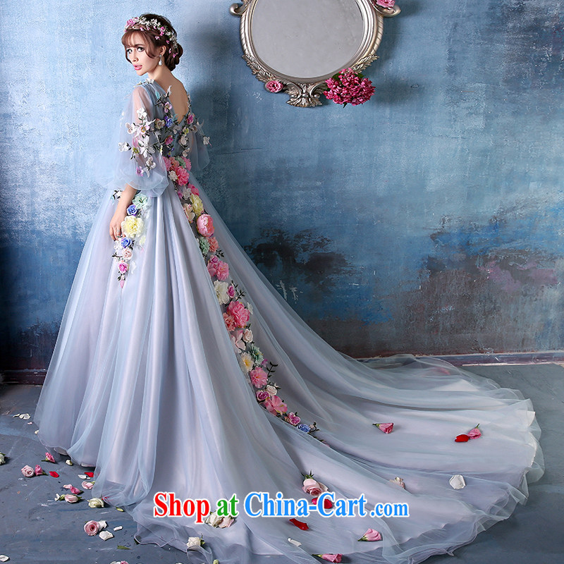 sin Sin better edge summer 2015 stylish new shadow floor double-shoulder flower fairies large code-tail dress bridal wedding banquet fan Bingbing stars with evening dress blue tailored