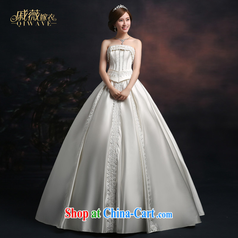 Qi wei summer 2015 new wedding dresses bride toast wedding wedding dress ivory white wiped his chest long wood drill with larger damask wedding female white XXL