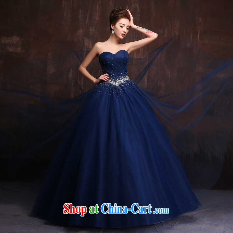 wedding dresses 2015 new wiped his chest long banquet diamond jewelry blue dress uniforms bridal toast spring serving royal blue. Size