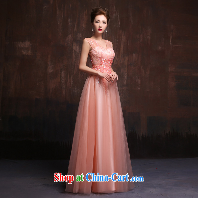 2015 Spring Summer fashion new wedding dresses long pink bridal toast clothing Evening Dress annual dresses bare pink. Size