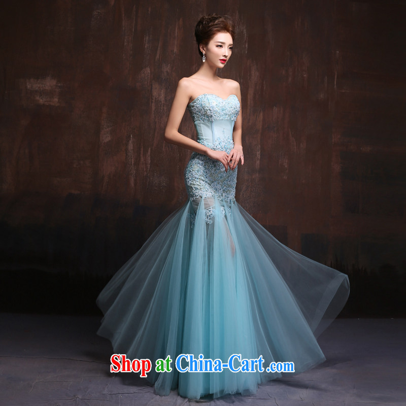 Evening Dress 2015 spring and summer new Korean lace bare chest marriages crowsfoot toast service banquet long gown Ice Blue. Size