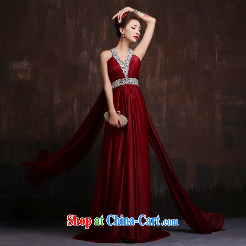 2015 new stylish long red Deep V bridal toast serving moderator performance service beauty banquet dress wine red L