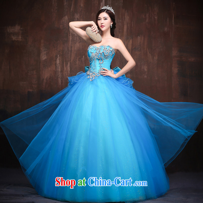 sin Sin better edge 2015 new wedding dresses Korean long crystal diamond luxury color erase chest dress skirt watermelon Red. Size