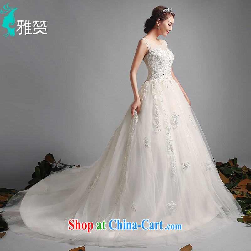 And Jacob, 2015, Japan, and South Korea wedding dress tail shoulders minimalist summer and autumn new lace wedding wedding band shaggy skirts tail, XXL