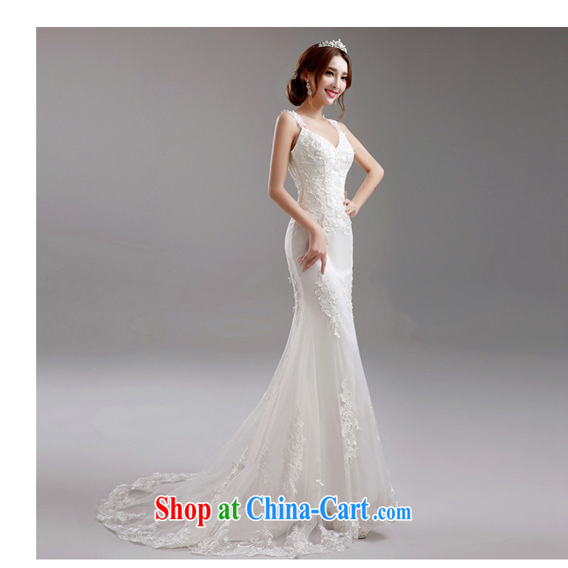 White first about Lace Deep v collar Korean Princess bride crowsfoot tail beauty wedding dresses 2015 new white tailored contact Customer Service