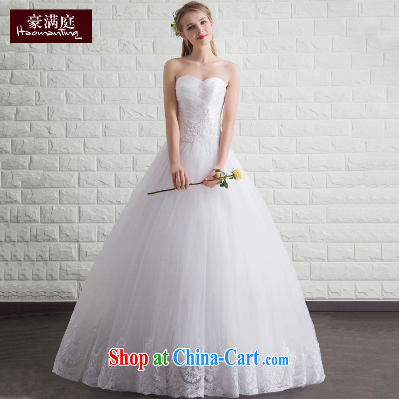 bare chest wedding dresses new 2015 summer Korean-style minimalist with wedding code tie-cultivating graphics thin white white XL