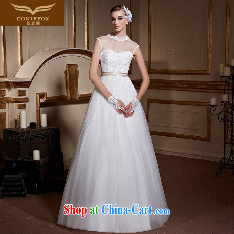 Creative Fox and stylish high-collar erase chest wedding dresses white with marriages wedding pregnant large code wedding video thin strap wedding 99,038 white tailored