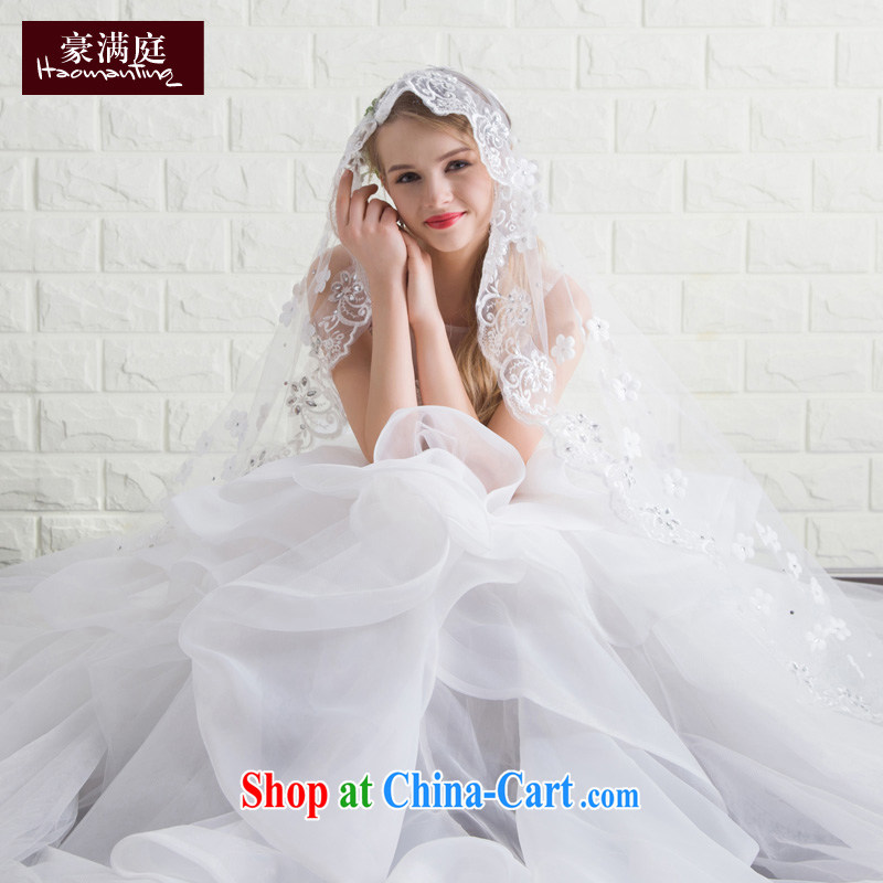 2015 new bridal wedding dresses summer stylish and simple Korean shoulders the code graphics thin wedding small-tail tied with white XL