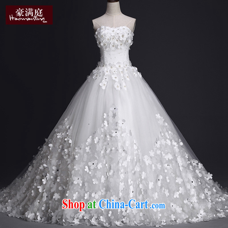 Summer 2015 new bridal wedding dresses long-tail Mary Magdalene Beauty Chest larger flowers Deluxe Big-tail custom white XL, the luxurious full chamber, online shopping