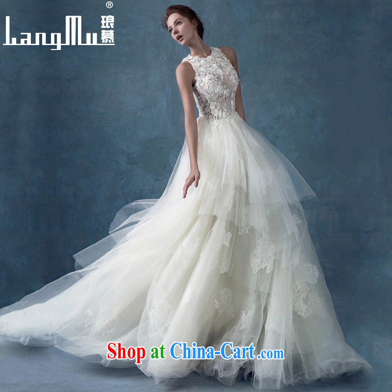 Luang Prabang in summer 2015 new stylish bridal wedding simple marriage wedding retro field shoulder tail lace wedding white XL