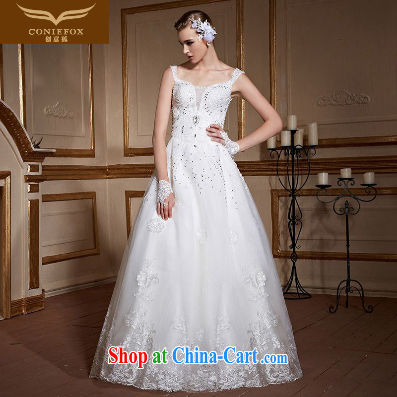 Creative Fox white shoulders wedding dresses 2015 new wedding custom alignment to the Code pregnant women wedding dresses elegant lace inserts drill Princess skirt 99,052 white tailored