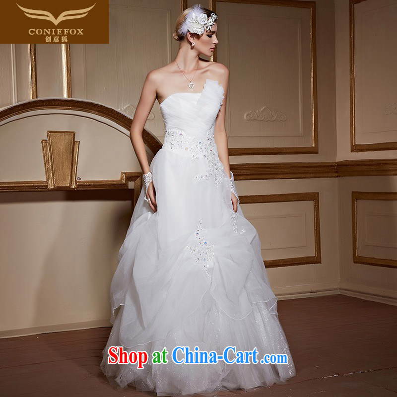 Creative Fox stylish wiped chest custom wedding dresses white elegant and romantic marriages wedding beauty with Princess skirt shaggy wedding 99,058 white tailored