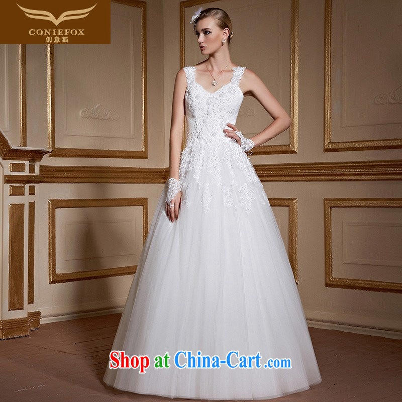 Creative Fox white minimalist graphics thin shoulders bridal wedding dresses stylish long cultivating straps lace with wedding advanced custom wedding 99,059 white tailored