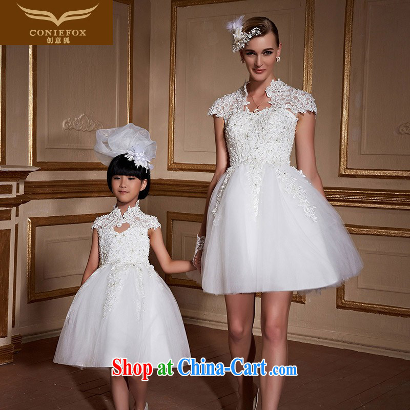 Creative Fox too short, parent-child pregnant women wedding dresses girls' wedding shaggy dress bridal wedding wedding beauty tied with a tailored wedding 99,061 white girls custom,