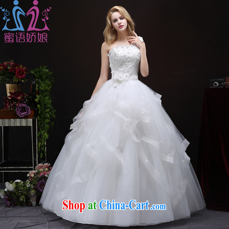 Honey, bride wedding dresses 2015 autumn new single shoulder alignment to cultivating graphics thin Korean marriages the code white wedding white XXL