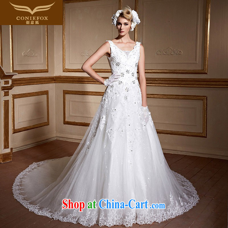 Creative Fox tailored wedding dresses stylish double-shoulder bridal wedding dresses cultivating long-tail wedding White Graphics thin large code wedding 99,065 white tailored