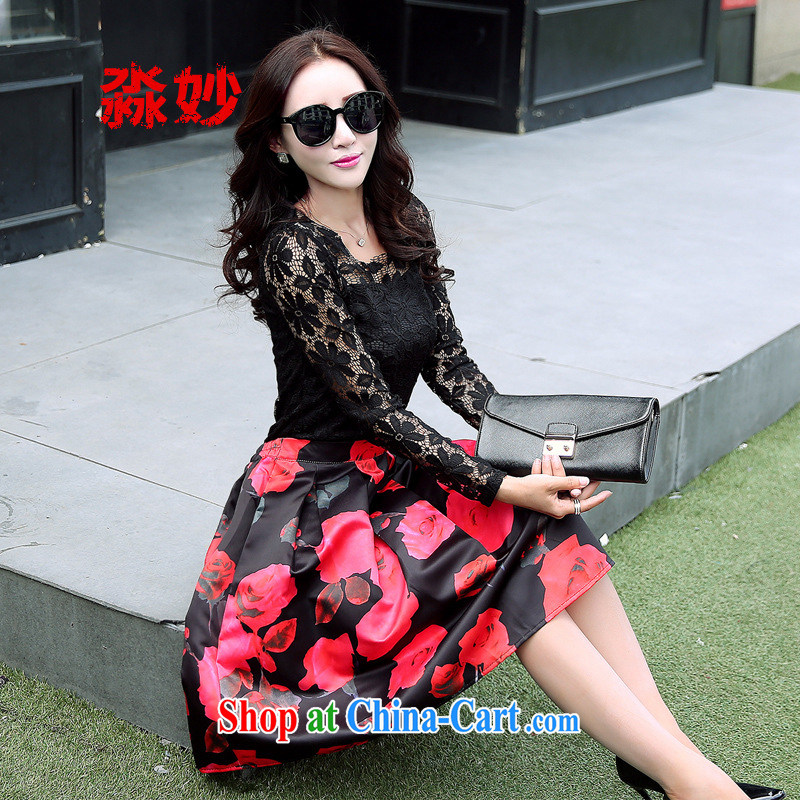 with wonderful retro stamp umbrella body skirt skirts shaggy dress 2015 new large A Field skirt lace T-shirt kit B 6240 wave point skirt black T-shirt S