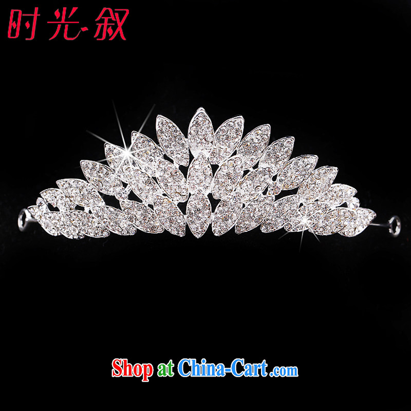 Time his bride's head-dress 3 piece set with Korean-style wedding dresses, clothing, jewelry, decorative Crown necklace earrings wedding accessories Crown