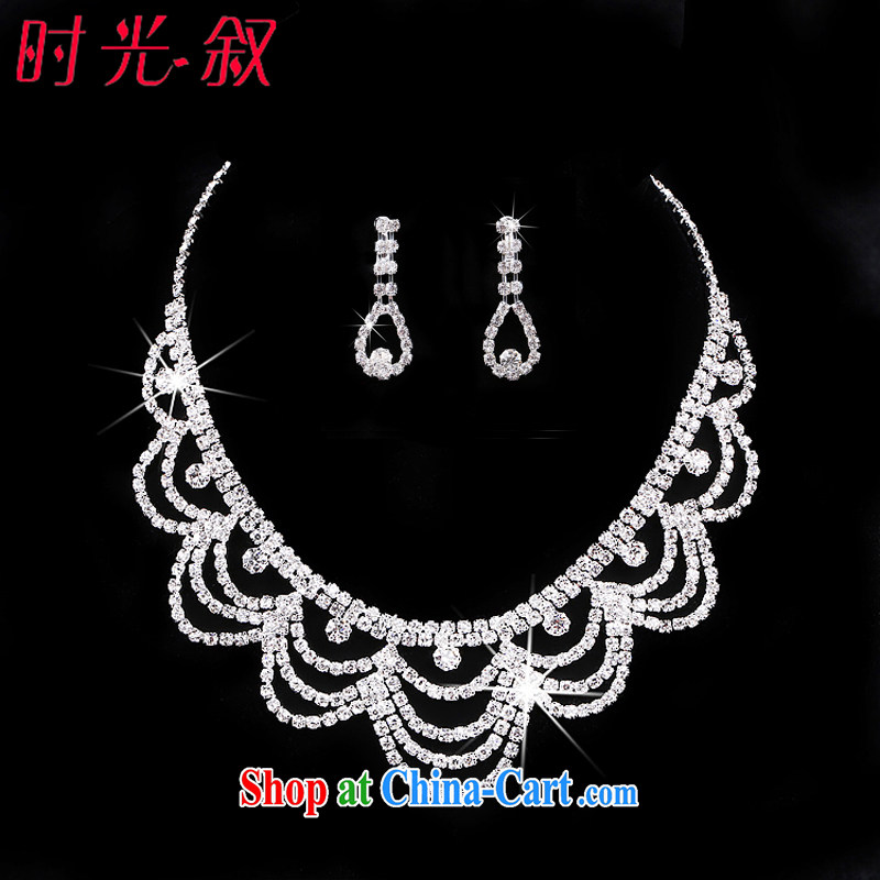 Time his bride's head-dress 3 piece set with Korean-style wedding dresses jewelry jewelry hair accessories Crown necklace earrings wedding accessories necklaces earrings