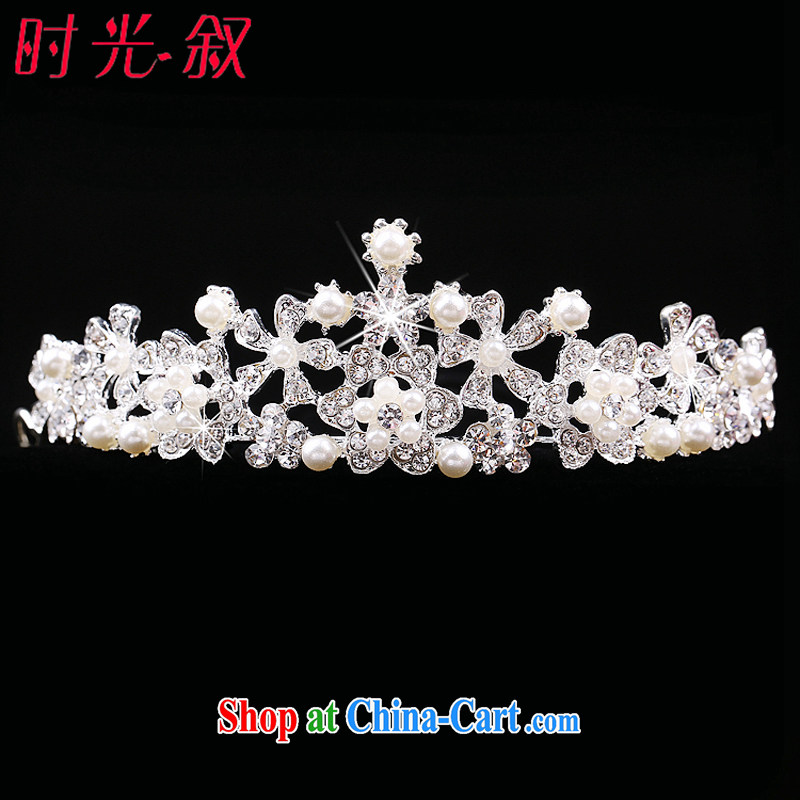 Time Syria 2015 bridal headdress-trim Crown necklace earrings Korean Pearl water drilling bridal jewelry crown and ornaments necklace 3-Piece Crown