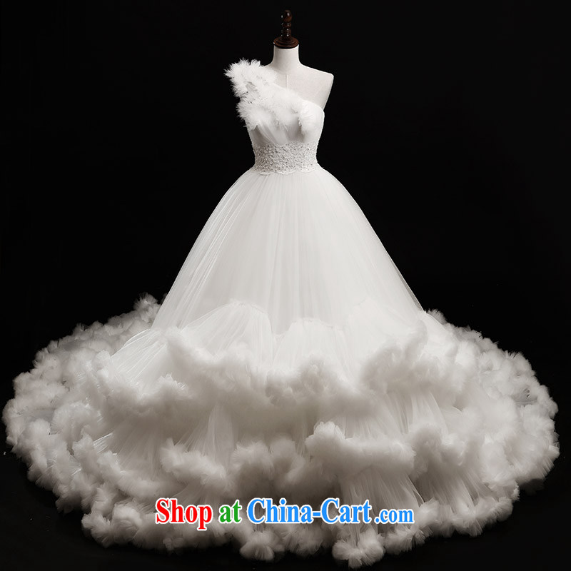 Garden 2015 new wedding dresses s 21,443 single shoulder the shoulder shaggy Deluxe tail Palace luxury tail 100 CM tailored