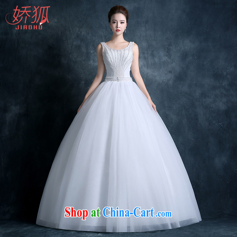 Air Fox 2015 autumn and winter new stylish wedding dresses bride Korean double-shoulder-neck-back lace retro graphics thin Pearl luxury white customization