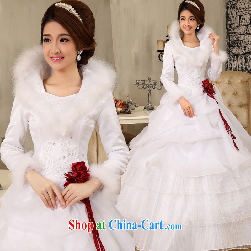 Marriage and love Korean style 2015 NEW GRAPHICS thin winter clothing wedding dresses white winter and cotton long-sleeved winter hair for Korean winter white XXL