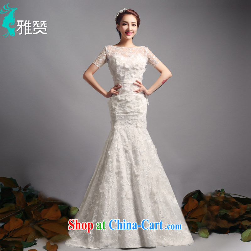 And Jacob his bride crowsfoot wedding dresses small tail with new 2015 summer and autumn a field package shoulder short-sleeved beauty graphics thin marriage wedding dress with XXL paragraph