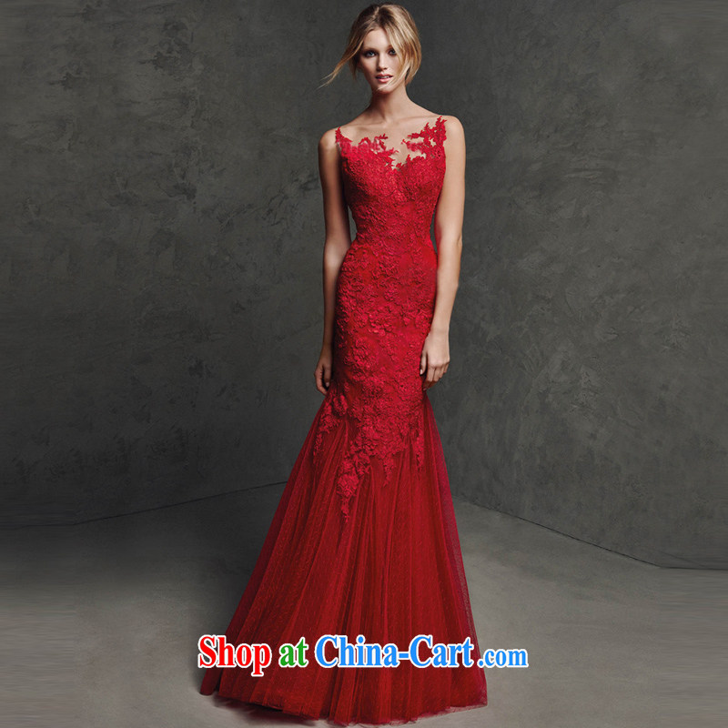 2015 New one shoulder wedding toast serving red lace long-sleeved back exposed crowsfoot beauty evening dress long marriage wedding shoulders, tailored